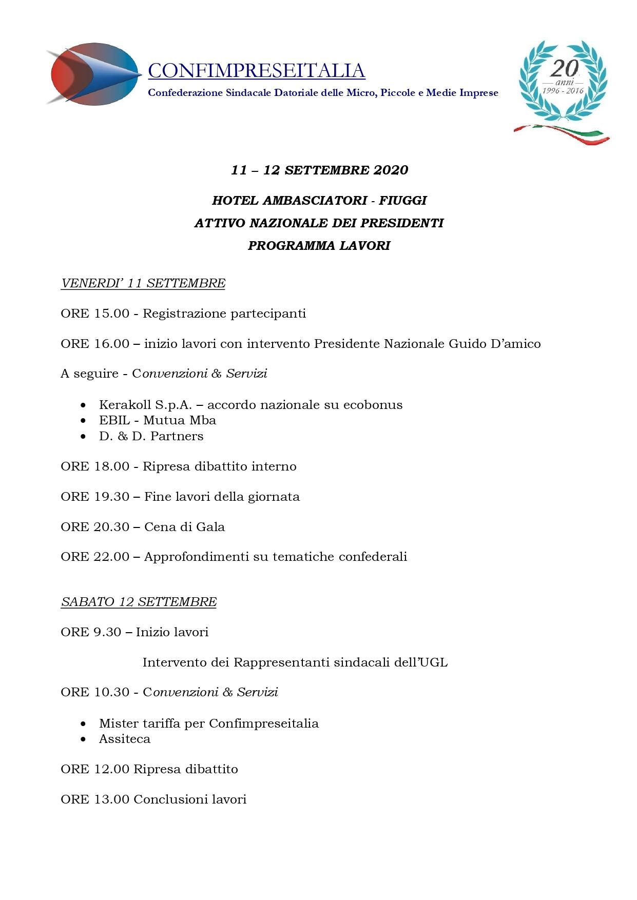 PROGRAMMA ATTIVO NAZIONALE DEI PRESIDENTI - 11- 12 SETTEMBRE 2020